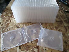 25x DOUBLE SIDED with SLEEVE 12MM POLY  CASES - CLEAR for CD, DVD, Blu Ray Disc