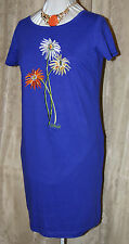 BOB MACKIE WEARABLE ART SO PRETTY FLORAL EMBROIDERED KNIT DRESS NAVY BLUE MED