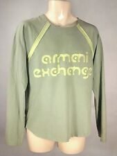 ARMANI EXCHANGE AX  Mens GREEN/YELLOW Long Sleeve Logo Shirt Medium M RARE