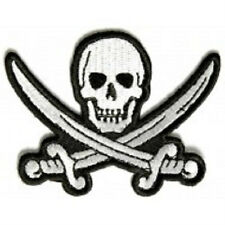 LOT OF 2 - WHITE PIRATE SWORD SKULL EMBROIDERED IRON ON BIKER PATCH