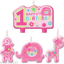 1st BIRTHDAY One Wild Girl MINI CANDLE SET (4pc) ~ Party Supplies Decorations