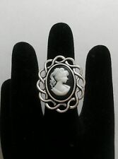A Gothic Victorian Lady  Black Cameo Charm  ADJUSTABLE Finger Ring