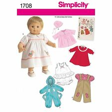 "Simplicity 1708 Sewing Pattern, 15"" Baby Doll Clothes"
