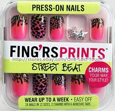 FING'RS PRINTS* 24 Press-On Nails KNOTTY GIRL Animal+Star Charms STREET BEAT New