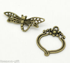 30 Sets Bronze Tone Dragonfly Toggle Clasps 29x11mm 22x19mm