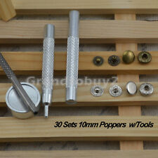 10mm 30 Poppers Snap Fastener Press Stud Kit Tool Sewing Leather Clothing Button