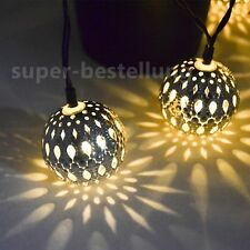 Moroccan 12 LED Shining Warm White Metal Ball String Fairy Lamp Solar Lights UK