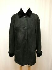 womens green black genuine SHEEPSKIN SHEARLING FUR COAT suede USA button front M