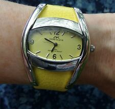 """LIKE-NEW ANNE KLEIN YELLOW 8"""" LEATHER STRAP WATER RESISTANT WATCH"""