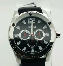 Fashion Swiss Hunter black and silver dial 50 mm big face rubber band watch