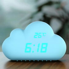 R6H1 Cute Cloud Shape Sound Control Digital Alarm Clock Time/Temperature/Date