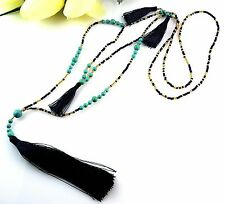 1 Long Turquoise Gemstone & Glass Beaded Tassel Necklace - NAVY BLUE - #2072