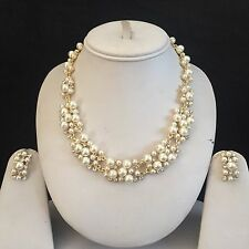 GOLD CLEAR COSTUME JEWELLERY NECKLACE EARRINGS PEARLS CRYSTAL SET NEW BRIDAL
