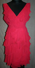 MONSOON dress size 16 BRIGHT CORAL PINK tiered flounced FULLY LINED dressy