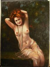 Femme rousse dénudée au collier de perle XIX 80cm nu féminin redhead naked woman