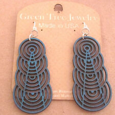 ASCENDING INTERLOCKING CIRCLES Green Tree AQUAMARINE cut wood earrings 1377