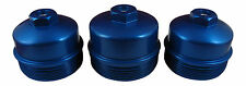6.4L Powerstroke 3Pc BLUE Billet Oil Filter + Fuel Filter Upper + Lower Cap SET
