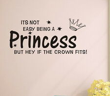 Princess crown Wall quote decals Removable stickers decor kids nursery art