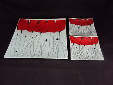 "Set of 3 Square Glass Plates, 10"" Dinner & Two 5"" Sides, w/Red Tulips Abstract"