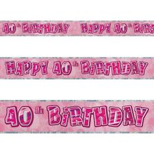 12ft Happy 40th Birthday Pink Sparkle Prismatic Party Foil Banner Decoration