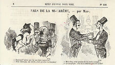 Gravure ancienne 1880  bals de la mi carême par Mars  XIXème