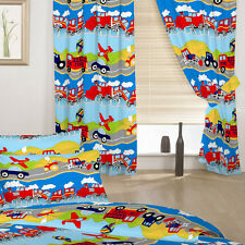 "Children's Bedroom Curtains Transport Emergency Vehicles Boys 66"" by 72"" Baby"