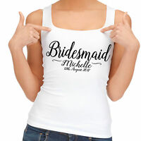 Beautiful simple wedding day bridesmaid party vest tank top personalised gift.