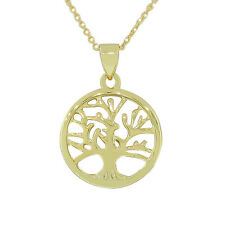 Sterling Silver Yellow Gold Womens Tree of Life Pendant Necklace with Chain