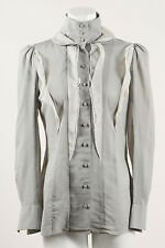 Rochas Gray Sheer Chiffon Ruffle Trim Button Up Long Sleeve Shirt Top
