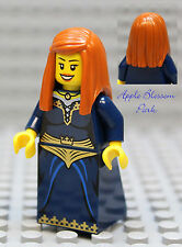 NEW Lego Dark Blue FEMALE MINIFIG -Castle Kingdom Princess Dark Orange Hair Girl