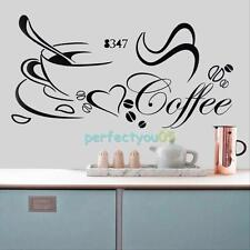 New Removable Kitchen Decor Coffee Cup Heart Home Decals Vinyl Art Wall Sticker