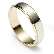 MENS 10K TWO TONE GOLD  WEDDING BAND RING  5MM
