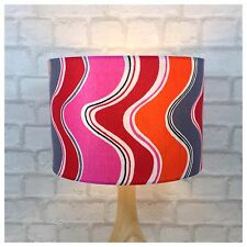 "Vintage 60s 70s Psychedelic Fabric 30cm / 12""  Lampshade Pink Orange Grey"