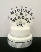 Wedding, Engagement, Anniversary double name heart, star feathered cake topper
