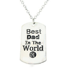 Best Dad In The World Silver Plated Tag Pendant Necklace Jewelry Father Gifts