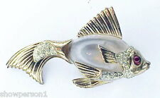 Coro Craft sterling vermeil Jelly belly carp brooch