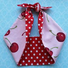 pink cherry polka dot 50s style rockabilly,pin up, bandana headband,hairband