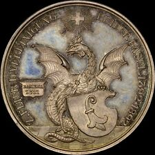1892 SWITZERLAND BASEL BATTLE DRAGON SILVER MEDAL GEM BU+ PL TONED PCGS & NGC IT
