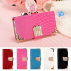 Bling Wallet Crystal Luxury PU Leather Magnetic Flip Cover Case For Samsung Lot