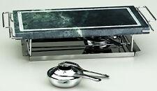 BISTECCHIERA grill PIETRA OLLARE LAVICA da TAVOLO cm. 37 x 19 con 2 FORNELLINI