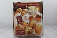 Flower Pot Muffin Cake Set Six Baking Dish Cup Clay Glazed plus Recipe Booklet