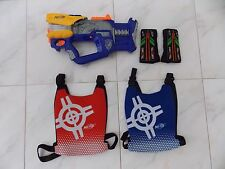 Nerf N-Strike Firefly Rev-8 Blaster and Nerf Classic Red and Blue Vests Velcro