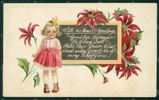 Girl Happy New Year Greetings Clapsaddle Relief CORNER CREASE postcard QT5895