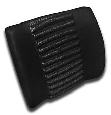 Back Lumbar Support Cushion - Car or Office Seat - Microfiber/Mesh - BLACK