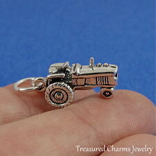 925 Sterling Silver Farm Tractor Charm - 3D Farming Country Pendant NEW