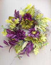 """22"""" Purple Sunflower Green Summer Fall Door Wreath"""