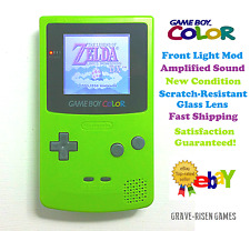 Nintendo Game Boy Color Kiwi, Front light, Amplified Sound, New Glass Lens, Mint