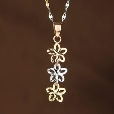 Pure 18K Rose & White & Yellow Gold Pendant  Three Lucky Flower Link Pendant