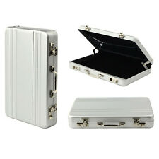GIFTS FOR MEN Silver Mini Briefcase Suitcase Business Card Holder Wallet Office