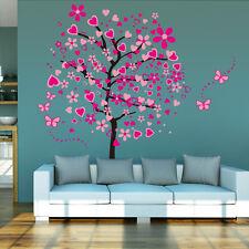 Wandtattoo Bild Deko Wandsticker Wanddesign Wandaufkleber Herz Baum Liebe Pink